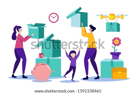 House in Installments. Happy Family Buys Home. Signing Contract. Mother, Father and Girl Unpacking Things. Vector Illustration. Buying House on Credit. People with Box in Hand. Interior Items.