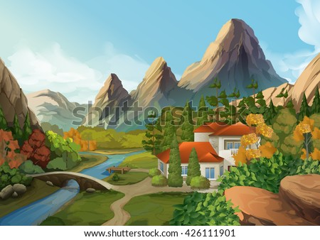 House in the mountains, nature landscape, vector background