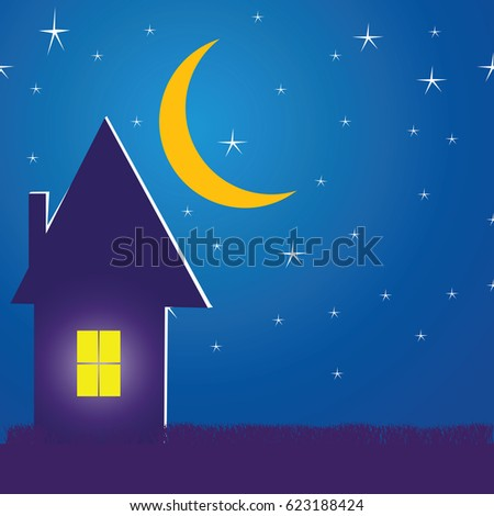 house in the night with stars