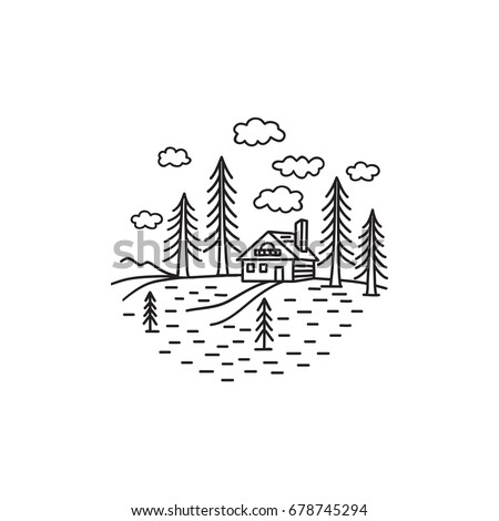 House in the woods, a country estate in a coniferous forest, renting a house in nature, a wooden house log house