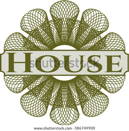 House inside money style emblem or rosette