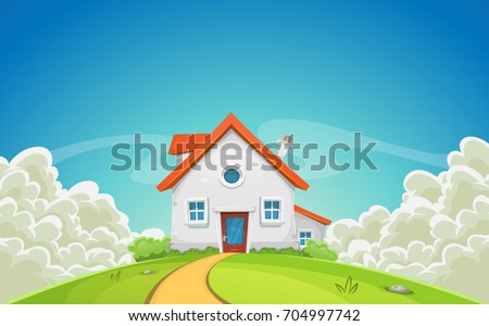 House Inside Nature Landscape With Clouds/ Illustration of a cartoon country house in spring or summer season, with fields of grass, rounded cloudscape and beautiful shining sky background
