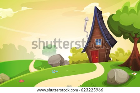 House Inside Spring Landscape/\ Illustration of a cartoon spring or summer season landscape with country road leading to a fairy little house