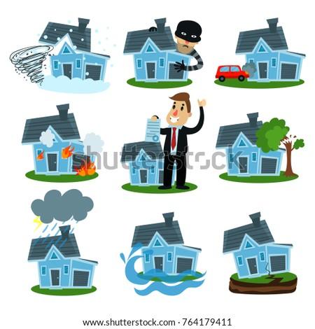 Shutterstock House insurance business service set, property insurance vector Illustrations