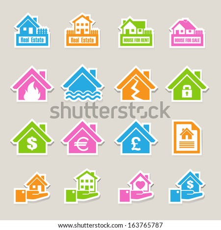house insurance icons set