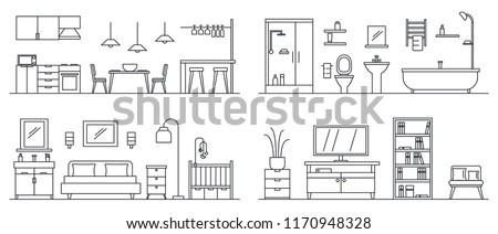 House interior banner set. Outline illustration of house interior vector banner set for web design
