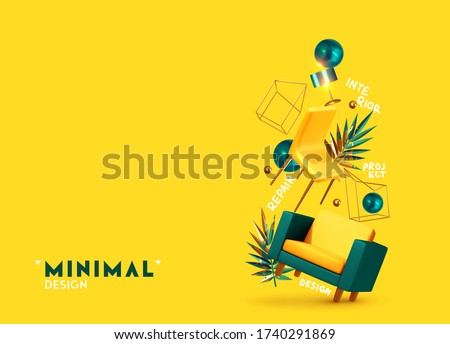 House interior design. Vector conceptual composition with 3d objects. Creative illustration, levitation of furniture, concept of moving, the idea of repairing an apartment. Trendy banner or poster