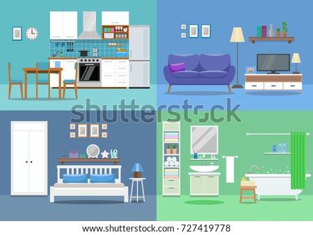 house interior  kitchen  living