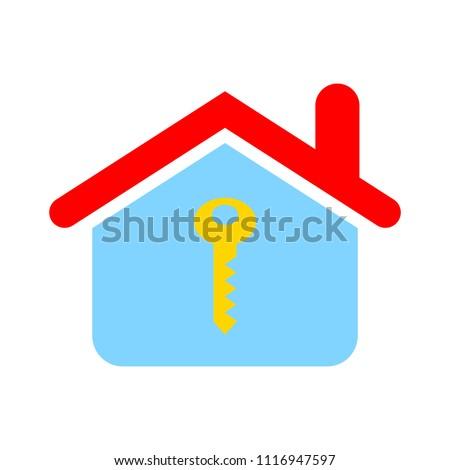 house key. vector unlock house isolated. mortgage property illustration