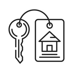 House keys black line icon. Iron attribute that can open the door. Pictogram for web page, mobile app, promo. UI UX GUI design element. Editable stroke.