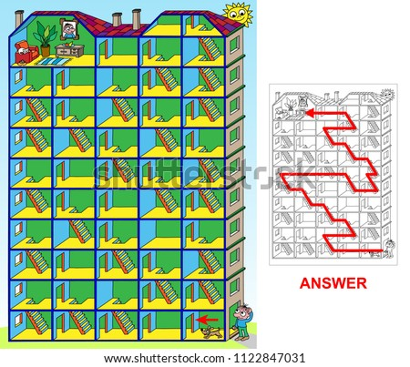 House labyrinth. Find a correct path through the house, so a boy will be able to go to his flat. Labyrinth for kids.