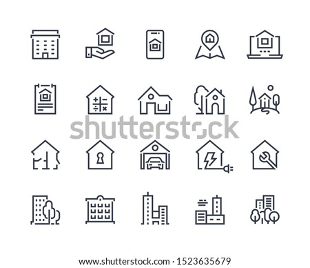 house line icons town houses