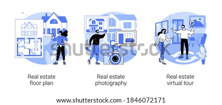 House listing abstract concept vector illustration set. Real estate floor plan, house photography and virtual tour, virtual staging, realty agency advertisement, video walk-through abstract metaphor.