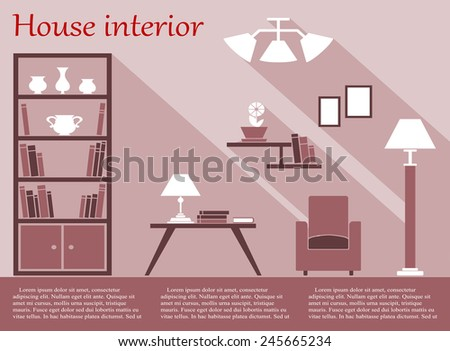 House living room interior flat infographic with bookcase, chair, floor lamp, coffee table, wall shelves and chandelier in various shades of pink and white with long shadow
