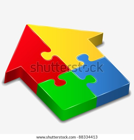 House made of puzzle pieces, vector illustration