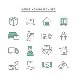 HOUSE MOVING LINE ICON SET
