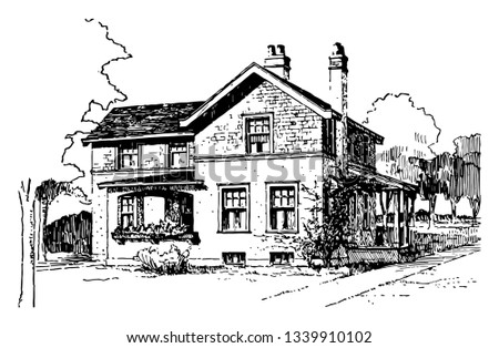 House of Shingles and Plaster design It is the covering on the uppermost part of a building vintage line drawing or engraving Stockfoto ©