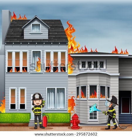 house on fire and two firemen