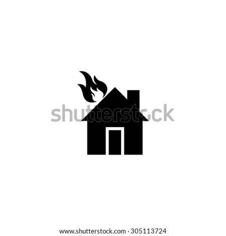 house on fire black simple