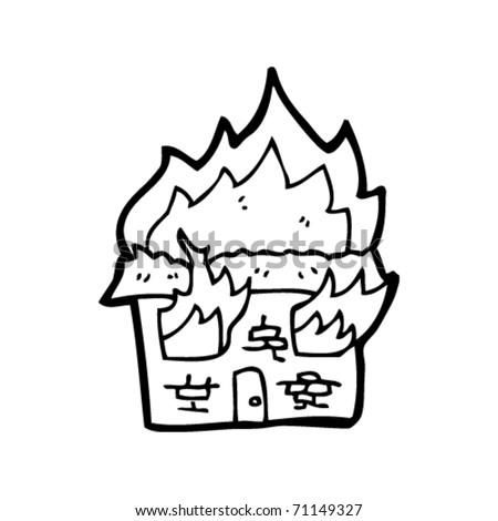 cartoon house on fire. stock vector : house on fire