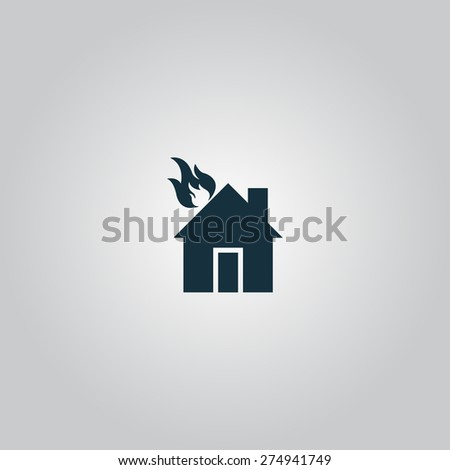 house on fire flat web icon or