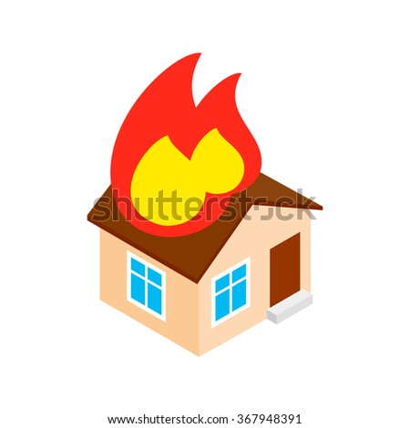house on fire isometric 3d icon