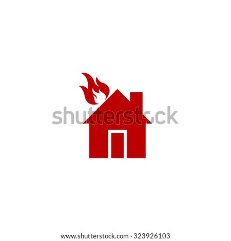 house on fire red flat icon