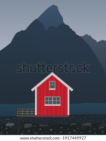 house on the river bank vector