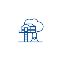 House on tree line icon concept. House on tree flat  vector symbol, sign, outline illustration.