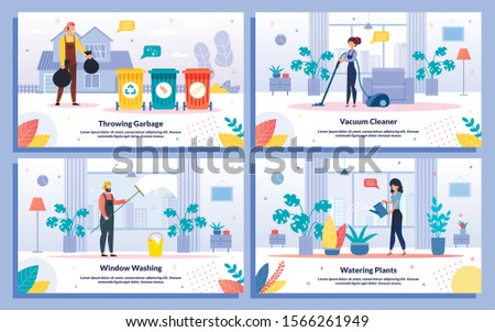 House or Apartment Commercial Cleaning Service Trendy Flat Vector Ad Banner, Promo Poster Templates Set. Female, Male Workers Washing Window, Watering Plant, Vacuuming, Throwing Garbage Illustration