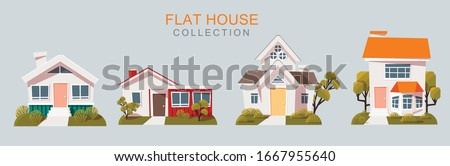 House pack of four. Free Vector