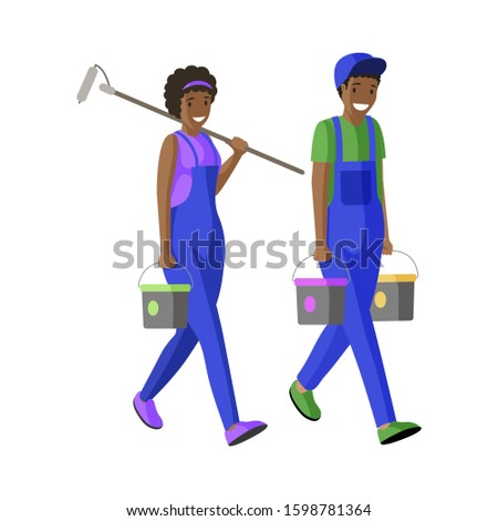 House painters flat vector illustration. Repairman, workmen carrying buckets and paint roller cartoon characters. Apartment decorators facade renovation specialists in professional uniform