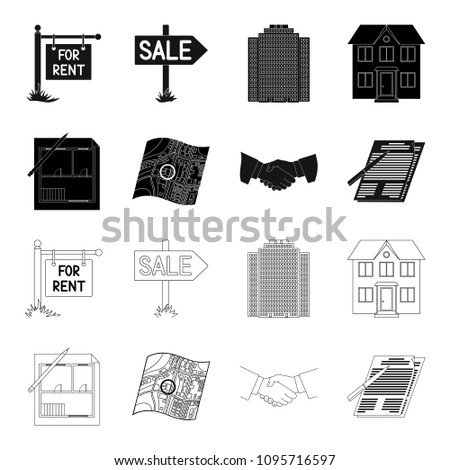 House plan, documents for signing, handshake, terrain plan. Realtor set collection icons in black,outline style vector symbol stock illustration web.
