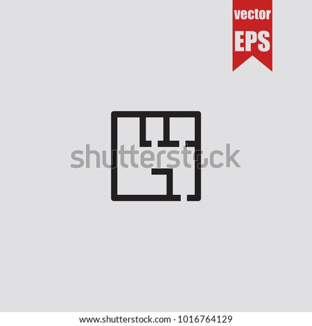 House plan icon in trendy isolated on grey background.Vector illustration.