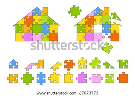 House puzzle shape with pieces making up a spectrum of colors.