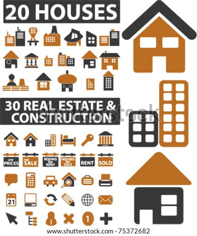 house & real estate icons, vector