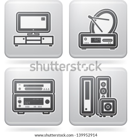 House related items (objects, tools), from left to right, top to bottom:   Television LCD set, Satellite dish and receiver, Amplifier and DVD player, Home cinema speakers.