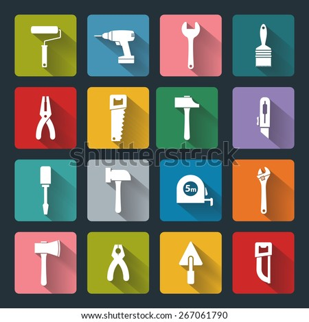 House remodel: set of vector design flat working tools icons, white on colored basis with long shadow