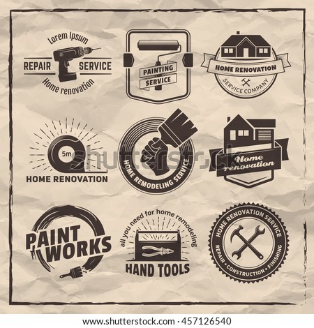 Home Remodeling Services Set Painting Royaltyfree Garage Logos Setcar Repair Emblems… #310062482 .