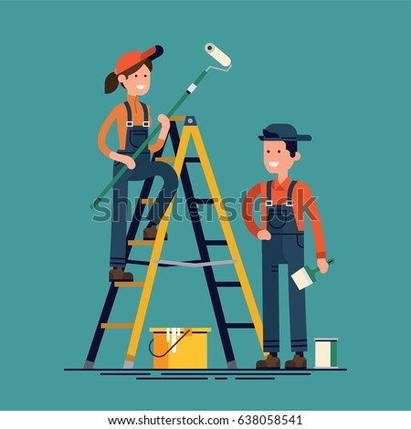 House renovation vector flat design characters with paint equipment. Young man and woman friendly smiling workers in workwear overalls with roller, brush, ladder and paint buckets