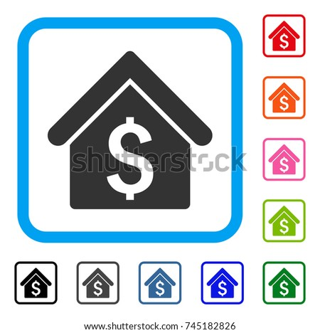House Rent icon. Flat gray iconic symbol inside a blue rounded square. Black, gray, green, blue, red, orange color variants of House Rent vector. Designed for web and software interfaces.
