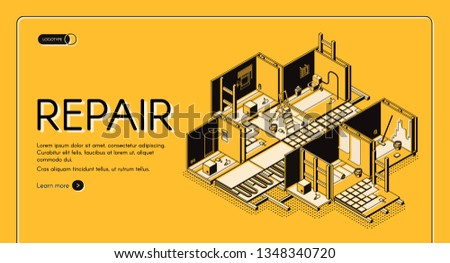 House repair service isometric vector web banner. Home building, apartment rooms cross section interior with walls and floor reconstruction illustration. Construction company landing page template