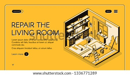 House repair service isometric vector web banner. Home living room on reconstruction, walls and floor renewal works cross section illustration. Construction or interior design company landing page