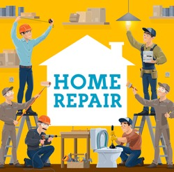 House repair vector design of construction industry workers with work tools. Builder, handyman, electrician and plumber, painters, contractor and engineer with toolbox, light bulb and tape measure