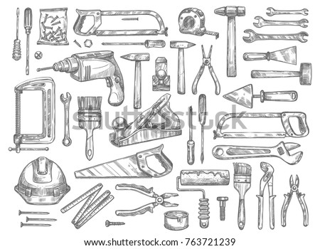 House repair work tools sketch icons. Vector isolated set of home construction drill, saw or hammer and carpentry woodwork grinder, ruler or screwdriver and plastering trowel or paint brush