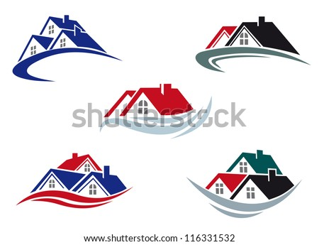 House roofs set for real estate business. Jpeg version also available in gallery - stock vector