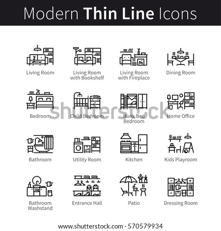 House room type set. Furniture, appliances and home furnishings. Little interior designs. Thin black line art icons. Linear style illustrations isolated on white.