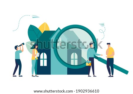 House selection and search, house project, real estate business concept, vector illustration