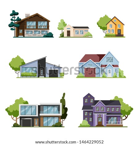 House set. Collection of cottage, modern architecture. Idea of real estate. Isolated flat illustration vector