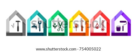 house set with various work